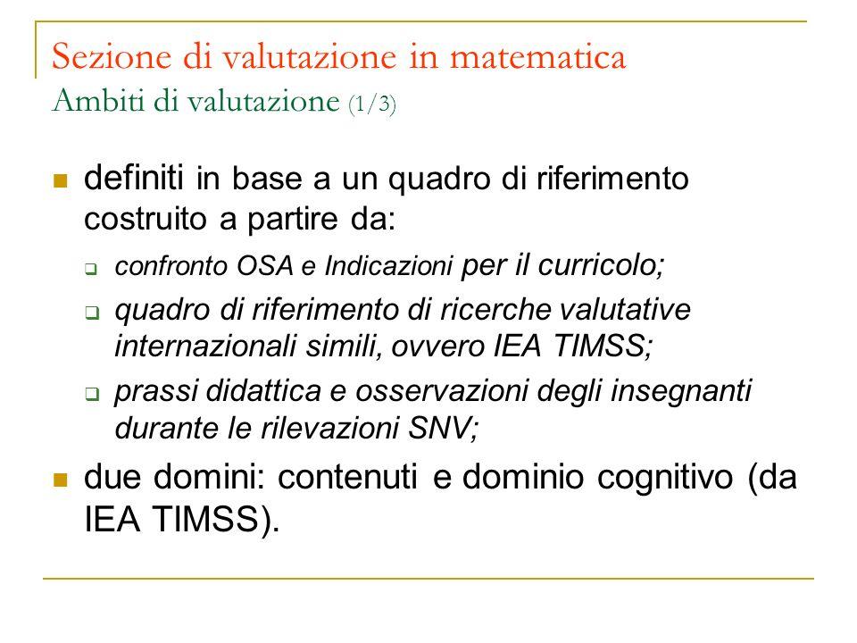 Sezione di valutazione in matematica Ambiti di valutazione (1/3) definiti in base a un quadro di riferimento costruito a partire da: confronto OSA e I