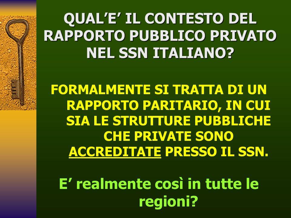 QUALE IL CONTESTO DEL RAPPORTO PUBBLICO PRIVATO NEL SSN ITALIANO? FORMALMENTE SI TRATTA DI UN RAPPORTO PARITARIO, IN CUI SIA LE STRUTTURE PUBBLICHE CH