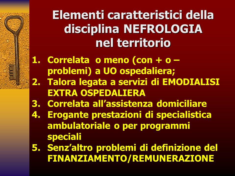 Elementi caratteristici della disciplina NEFROLOGIA nel territorio 1. 1.Correlata o meno (con + o – problemi) a UO ospedaliera; 2. 2.Talora legata a s