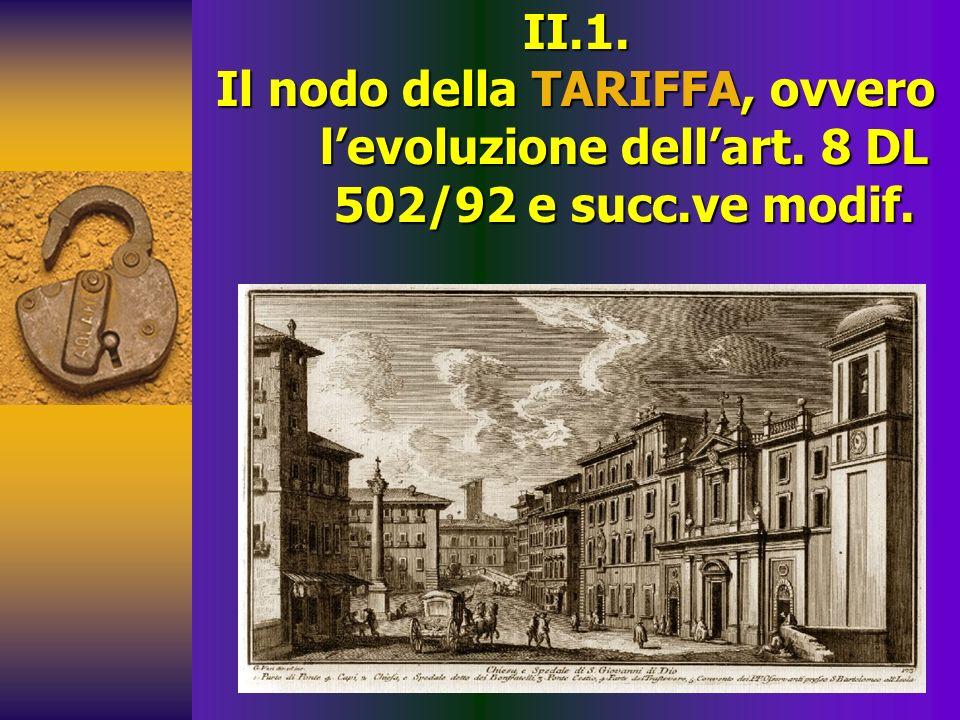 II.1. Il nodo della TARIFFA, ovvero levoluzione dellart. 8 DL 502/92 e succ.ve modif.