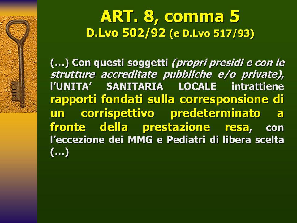 ART. 8, comma 5 D.Lvo 502/92 (e D.Lvo 517/93) (…) Con questi soggetti (propri presidi e con le strutture accreditate pubbliche e/o private), lUNITA SA