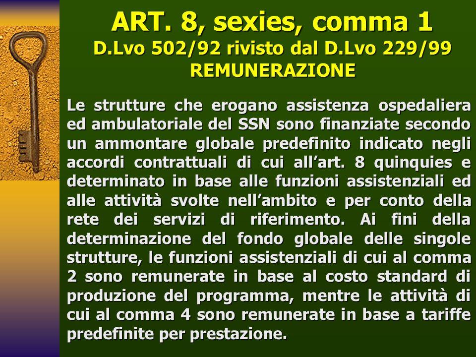 ART. 8, sexies, comma 1 D.Lvo 502/92 rivisto dal D.Lvo 229/99 REMUNERAZIONE Le strutture che erogano assistenza ospedaliera ed ambulatoriale del SSN s