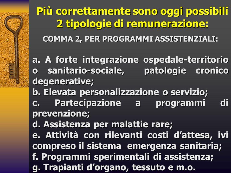 Più correttamente sono oggi possibili 2 tipologie di remunerazione: COMMA 2, PER PROGRAMMI ASSISTENZIALI: a. A forte integrazione ospedale-territorio