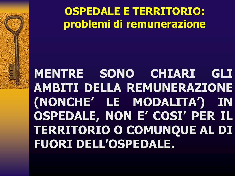 OSPEDALE E TERRITORIO: problemi di remunerazione MENTRE SONO CHIARI GLI AMBITI DELLA REMUNERAZIONE (NONCHE LE MODALITA) IN OSPEDALE, NON E COSI PER IL