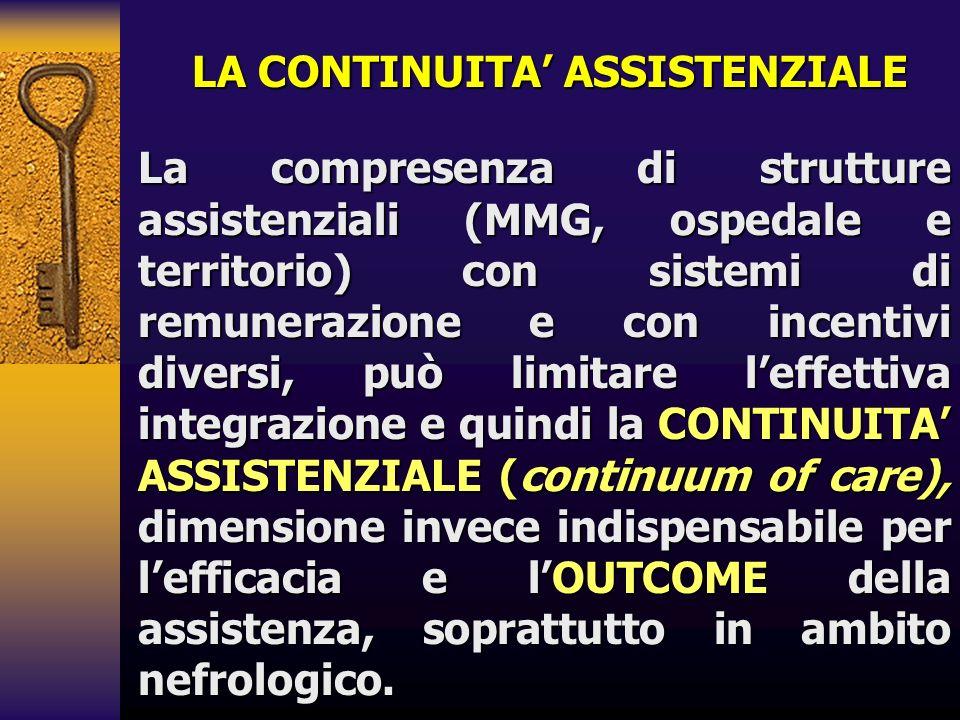 LA CONTINUITA ASSISTENZIALE La compresenza di strutture assistenziali (MMG, ospedale e territorio) con sistemi di remunerazione e con incentivi divers