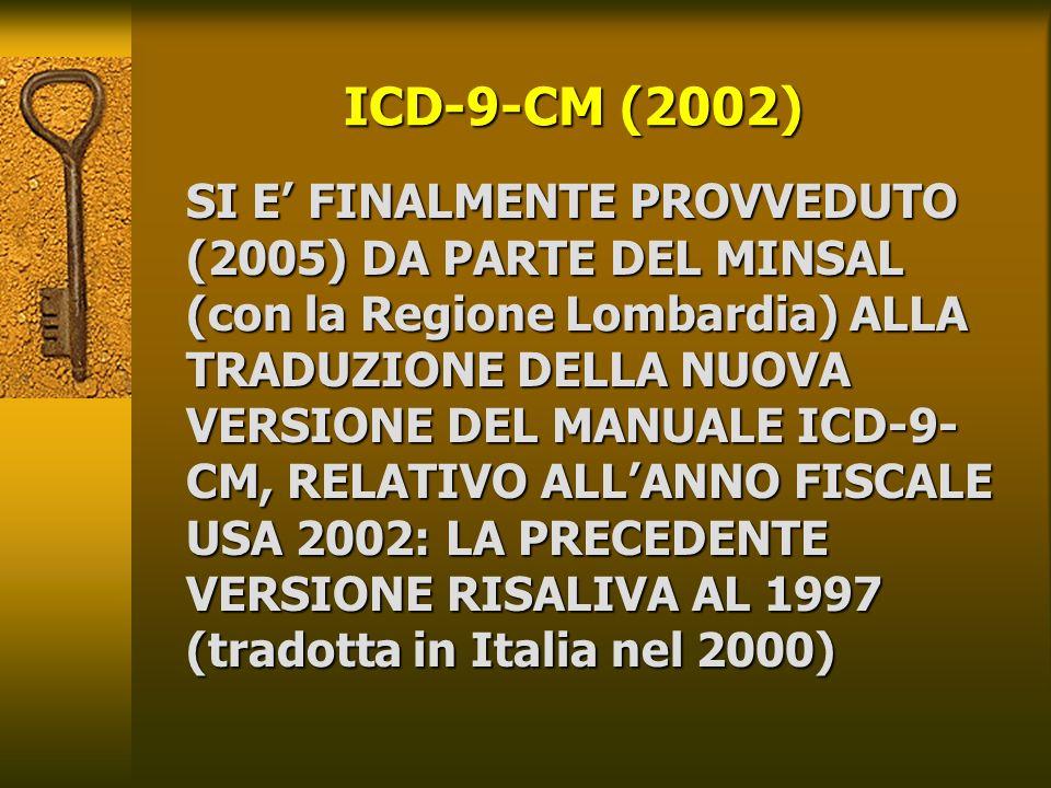 ICD-9-CM (2002) SI E FINALMENTE PROVVEDUTO (2005) DA PARTE DEL MINSAL (con la Regione Lombardia) ALLA TRADUZIONE DELLA NUOVA VERSIONE DEL MANUALE ICD-