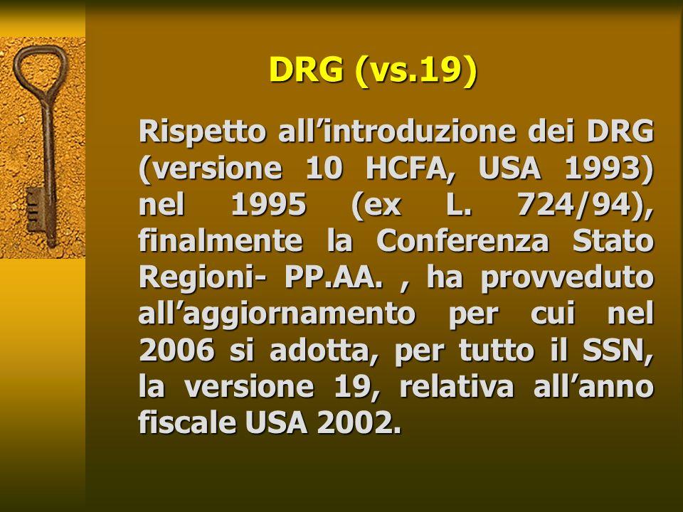 DRG (vs.19) Rispetto allintroduzione dei DRG (versione 10 HCFA, USA 1993) nel 1995 (ex L. 724/94), finalmente la Conferenza Stato Regioni- PP.AA., ha
