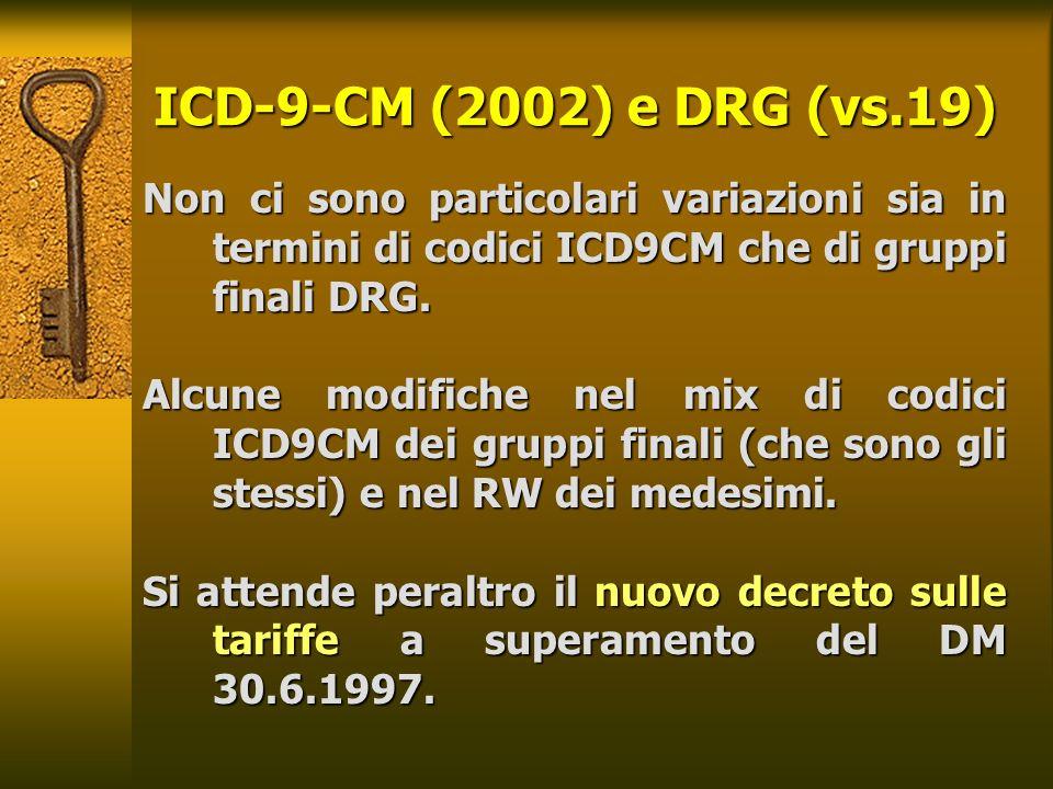 ICD-9-CM (2002) e DRG (vs.19) Non ci sono particolari variazioni sia in termini di codici ICD9CM che di gruppi finali DRG. Alcune modifiche nel mix di