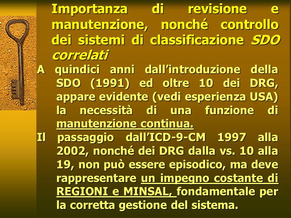 Importanza di revisione e manutenzione, nonché controllo dei sistemi di classificazione SDO correlati A quindici anni dallintroduzione della SDO (1991