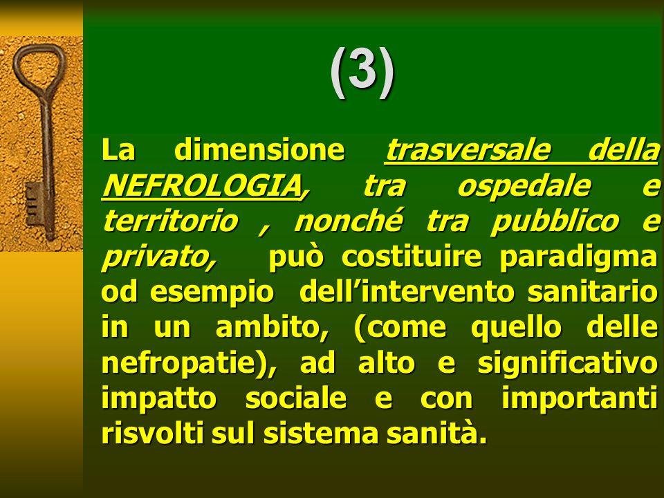 (3) La dimensione trasversale della NEFROLOGIA, tra ospedale e territorio, nonché tra pubblico e privato, può costituire paradigma od esempio dellinte