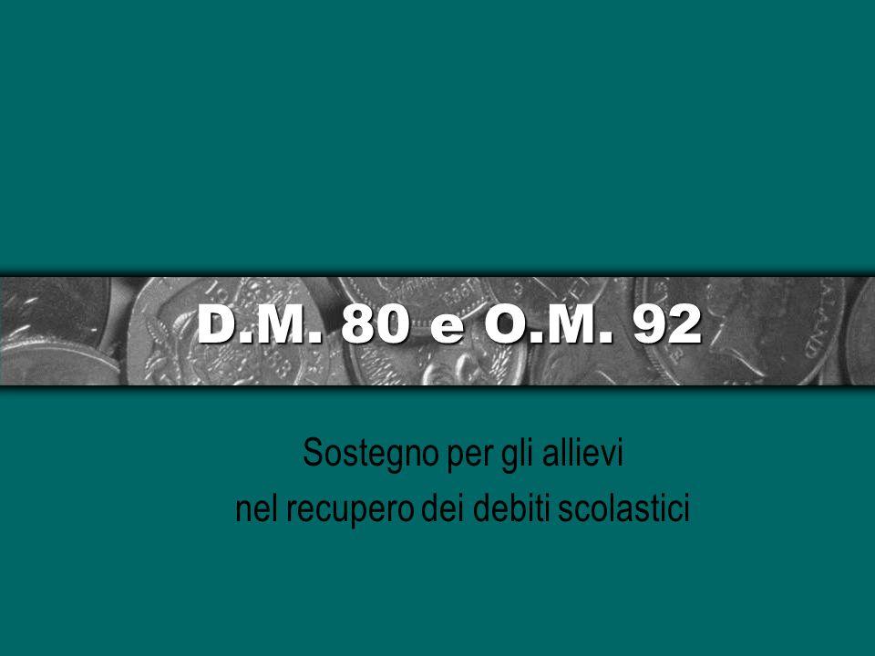 D.M. 80 e O.M. 92 Sostegno per gli allievi nel recupero dei debiti scolastici