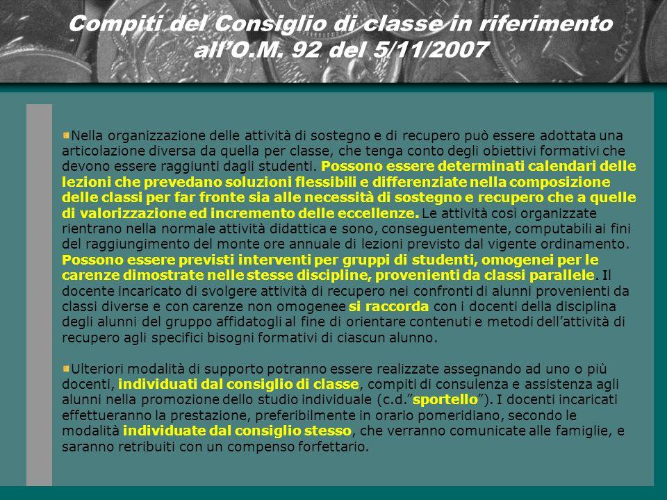 Compiti del Consiglio di classe in riferimento allO.M.
