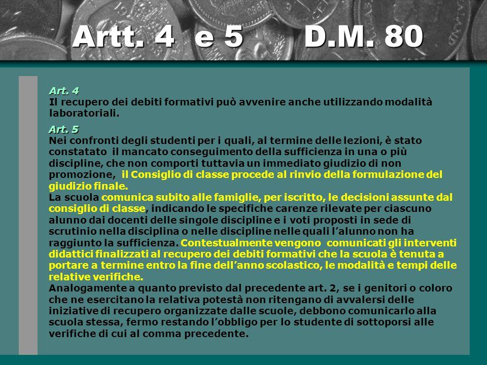 Artt.4 e 5 D.M. 80 Art.