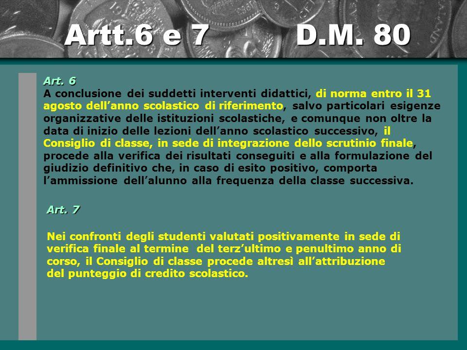 Artt.6 e 7 D.M.80 Art.
