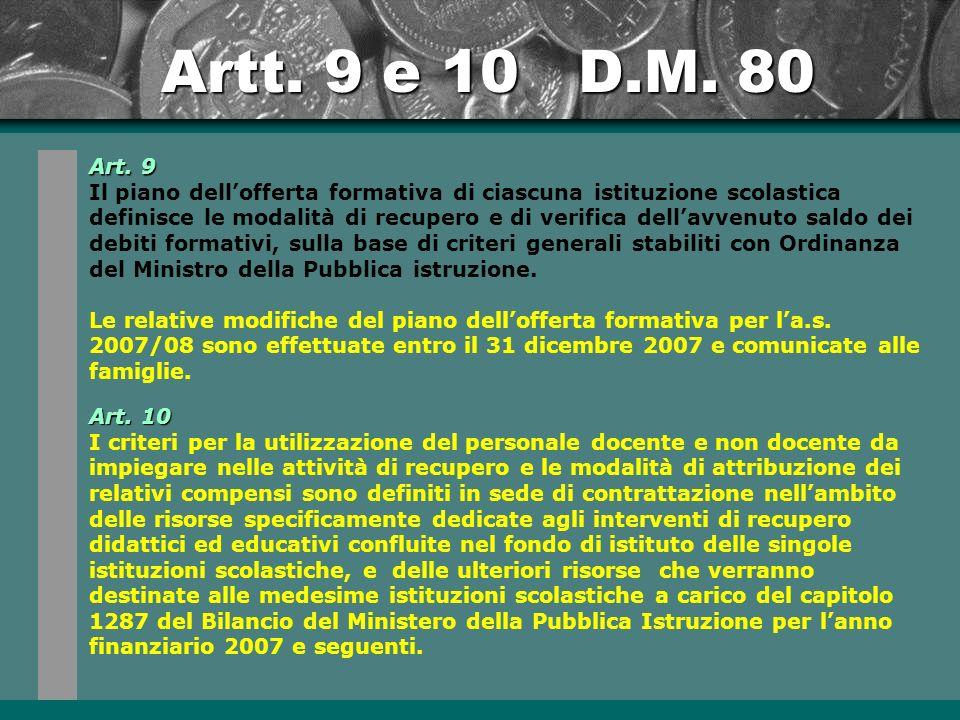 Artt.9 e 10 D.M. 80 Art.