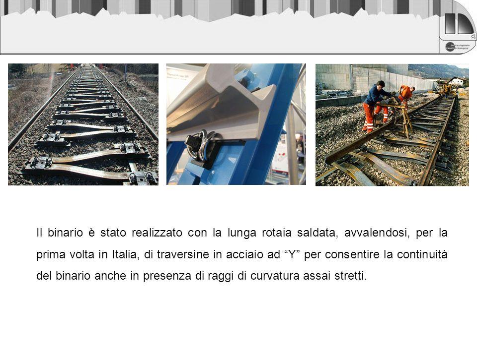 Il binario è stato realizzato con la lunga rotaia saldata, avvalendosi, per la prima volta in Italia, di traversine in acciaio ad Y per consentire la