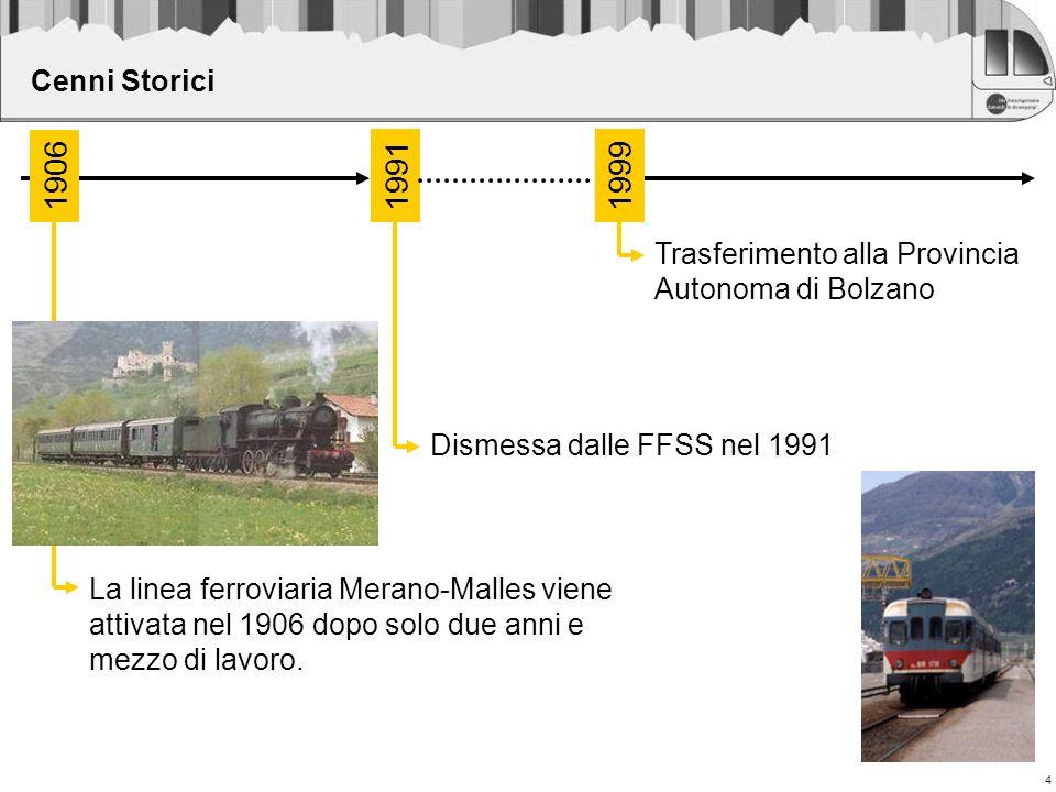4 Cenni Storici Dismessa dalle FFSS nel 1991 La linea ferroviaria Merano-Malles viene attivata nel 1906 dopo solo due anni e mezzo di lavoro. Trasferi