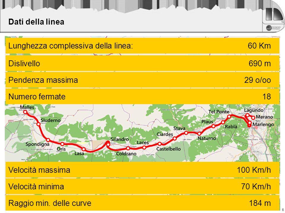 6 Dati della linea Lunghezza complessiva della linea:60 Km Dislivello690 m Pendenza massima29 o/oo Numero fermate18 Velocità massima100 Km/h Velocità