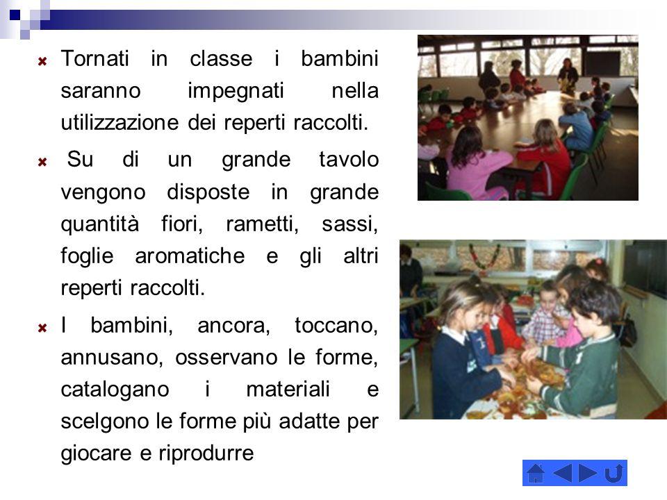 Tornati in classe i bambini saranno impegnati nella utilizzazione dei reperti raccolti.