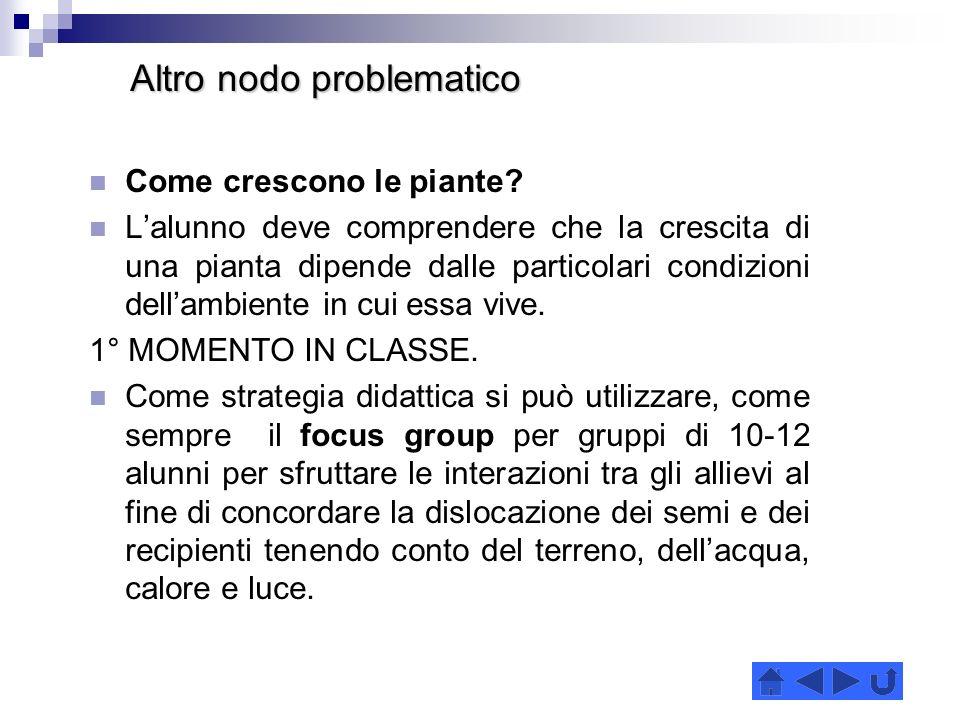 Altro nodo problematico Altro nodo problematico Come crescono le piante.