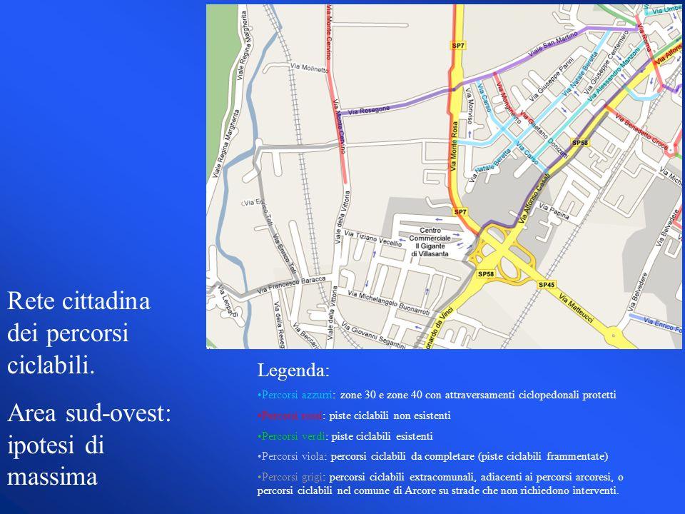 Legenda: Percorsi azzurri: zone 30 e zone 40 con attraversamenti ciclopedonali protetti Percorsi rossi: piste ciclabili non esistenti Percorsi verdi: