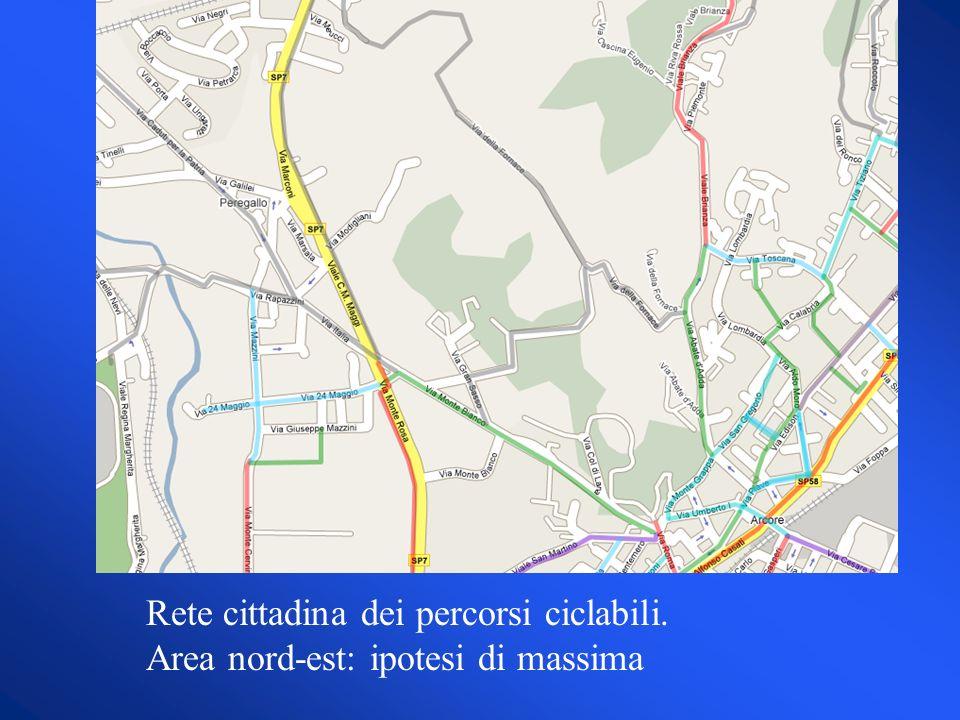 Rete cittadina dei percorsi ciclabili. Area nord-est: ipotesi di massima