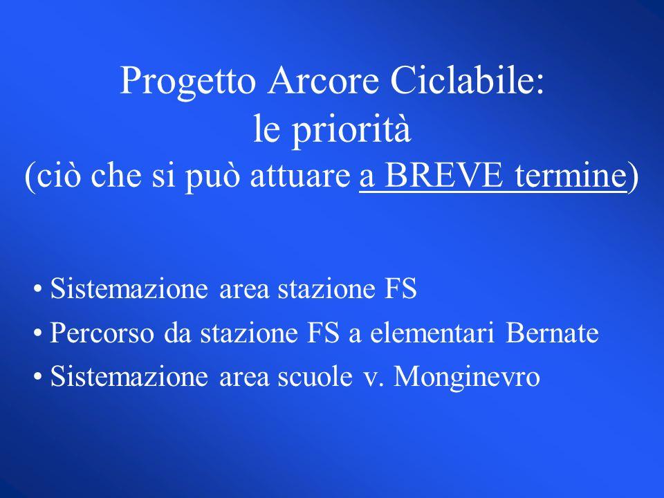 Progetto Arcore Ciclabile: le priorità (ciò che si può attuare a BREVE termine) Sistemazione area stazione FS Percorso da stazione FS a elementari Bernate Sistemazione area scuole v.
