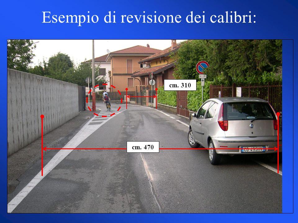 Esempio di revisione dei calibri: cm. 470 cm. 310