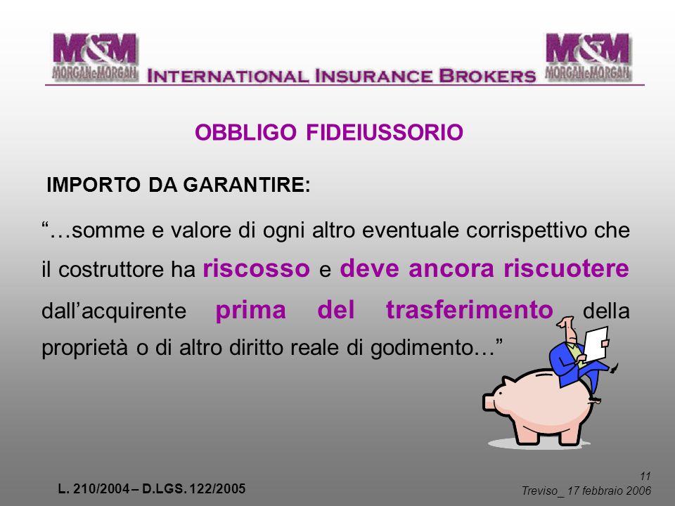 L. 210/2004 – D.LGS. 122/2005 11 Treviso _ 17 febbraio 2006 OBBLIGO FIDEIUSSORIO IMPORTO DA GARANTIRE: …somme e valore di ogni altro eventuale corrisp