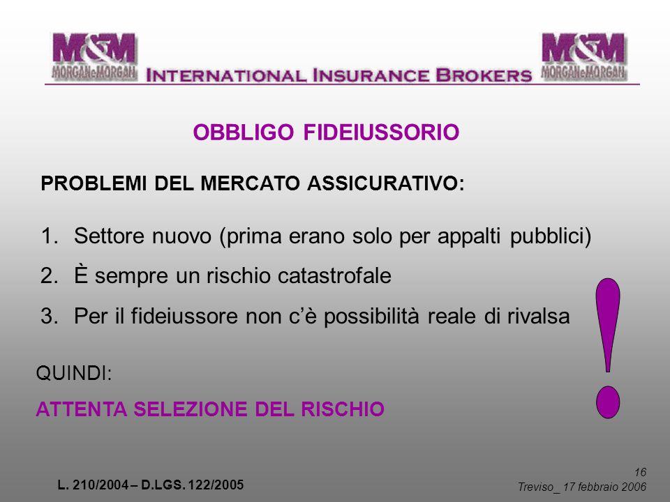 L. 210/2004 – D.LGS. 122/2005 16 Treviso _ 17 febbraio 2006 OBBLIGO FIDEIUSSORIO PROBLEMI DEL MERCATO ASSICURATIVO: 1.Settore nuovo (prima erano solo