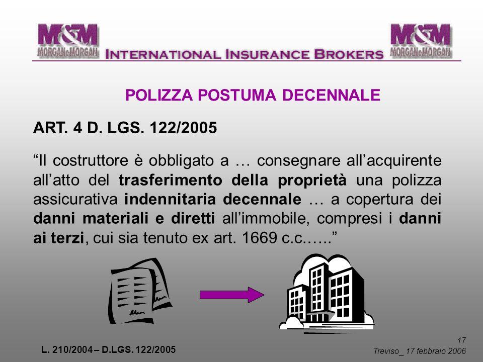 L. 210/2004 – D.LGS. 122/2005 17 Treviso _ 17 febbraio 2006 POLIZZA POSTUMA DECENNALE ART. 4 D. LGS. 122/2005 Il costruttore è obbligato a … consegnar
