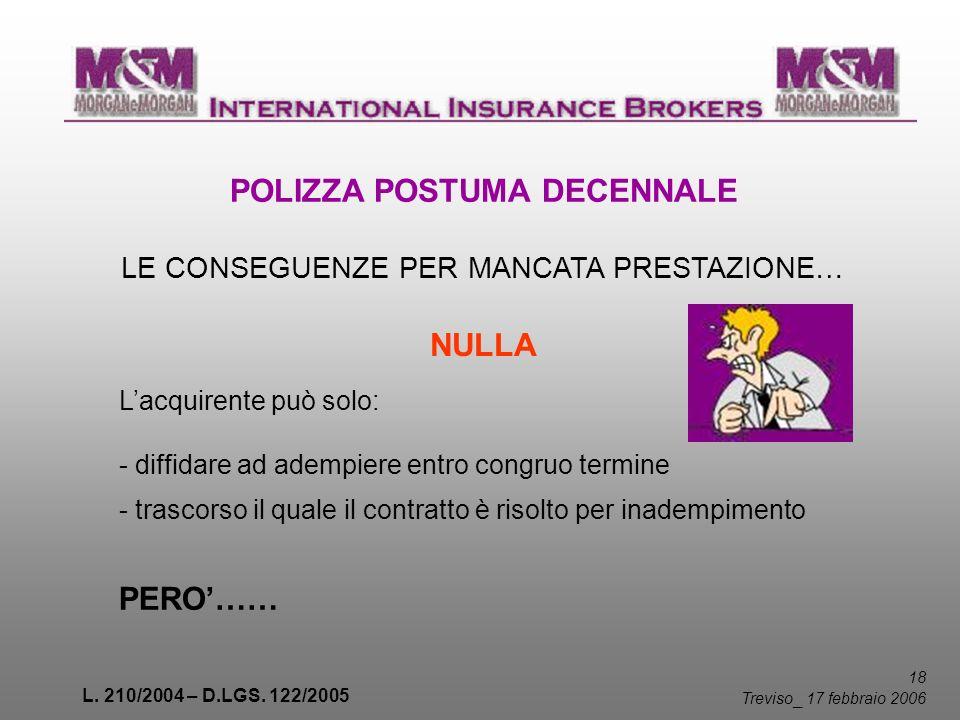 L. 210/2004 – D.LGS. 122/2005 18 Treviso _ 17 febbraio 2006 POLIZZA POSTUMA DECENNALE LE CONSEGUENZE PER MANCATA PRESTAZIONE… NULLA Lacquirente può so