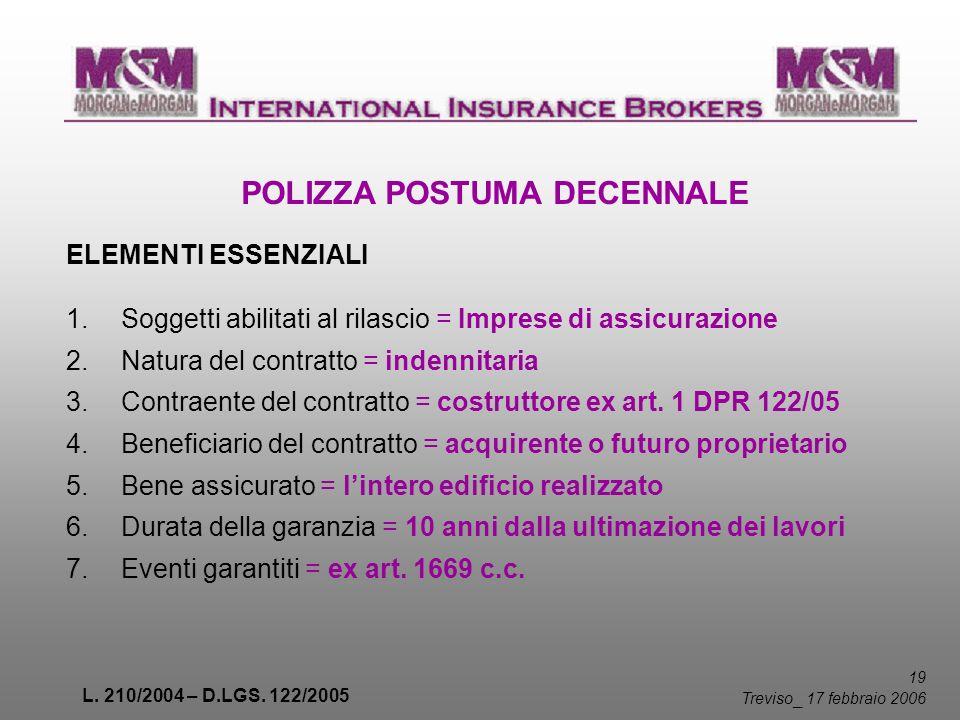 L. 210/2004 – D.LGS. 122/2005 19 Treviso _ 17 febbraio 2006 POLIZZA POSTUMA DECENNALE ELEMENTI ESSENZIALI 1. Soggetti abilitati al rilascio = Imprese