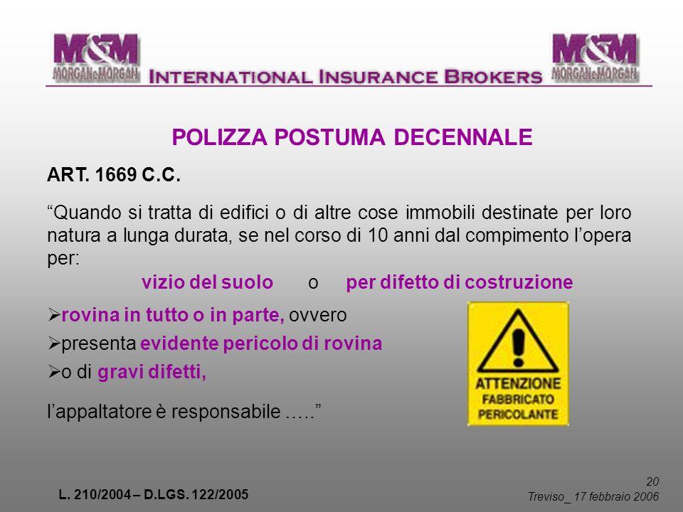 L. 210/2004 – D.LGS. 122/2005 20 Treviso _ 17 febbraio 2006 POLIZZA POSTUMA DECENNALE ART. 1669 C.C. Quando si tratta di edifici o di altre cose immob