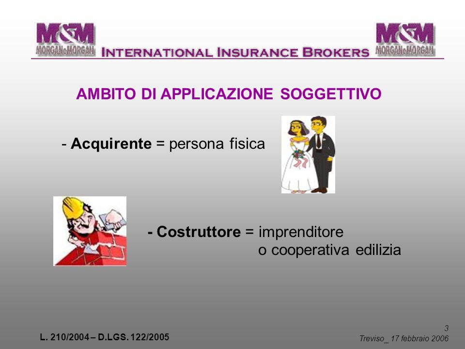 L. 210/2004 – D.LGS. 122/2005 3 Treviso _ 17 febbraio 2006 AMBITO DI APPLICAZIONE SOGGETTIVO - Acquirente = persona fisica - Costruttore = imprenditor
