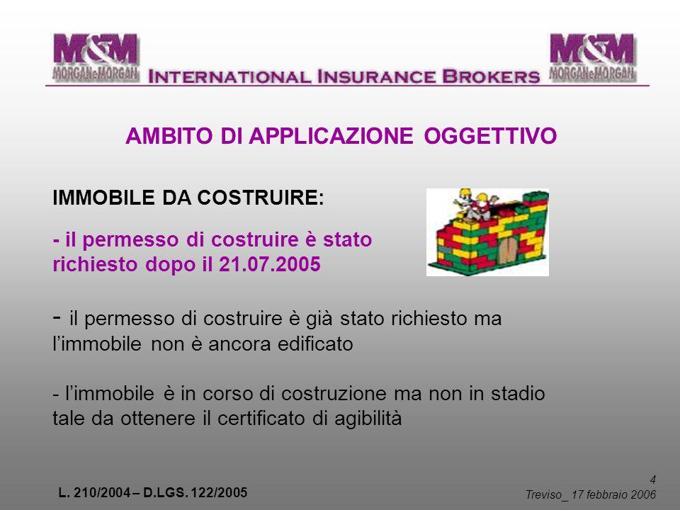 L. 210/2004 – D.LGS. 122/2005 4 Treviso _ 17 febbraio 2006 AMBITO DI APPLICAZIONE OGGETTIVO - il permesso di costruire è stato richiesto dopo il 21.07