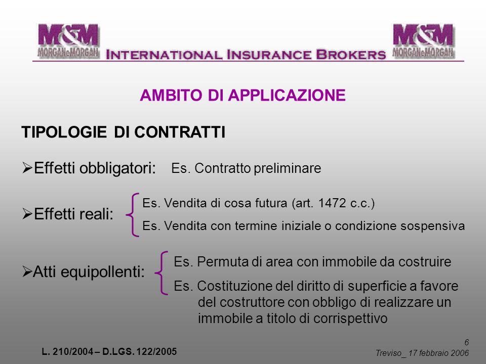 L. 210/2004 – D.LGS. 122/2005 6 Treviso _ 17 febbraio 2006 AMBITO DI APPLICAZIONE TIPOLOGIE DI CONTRATTI Effetti obbligatori: Effetti reali: Es. Contr