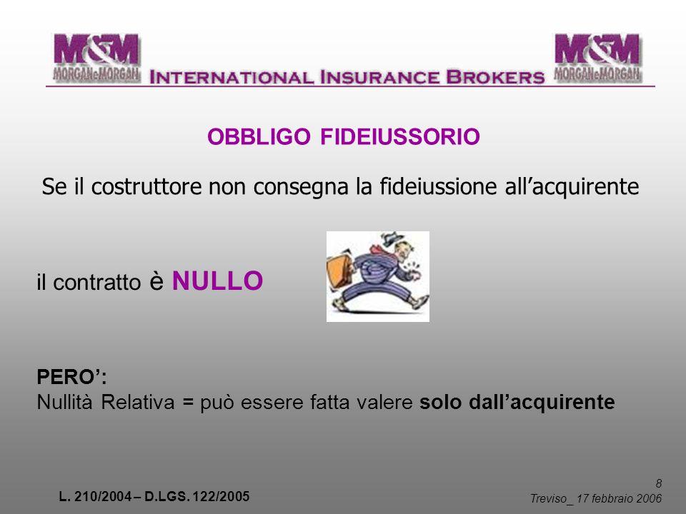 L. 210/2004 – D.LGS. 122/2005 8 Treviso _ 17 febbraio 2006 Se il costruttore non consegna la fideiussione allacquirente OBBLIGO FIDEIUSSORIO PERO: Nul