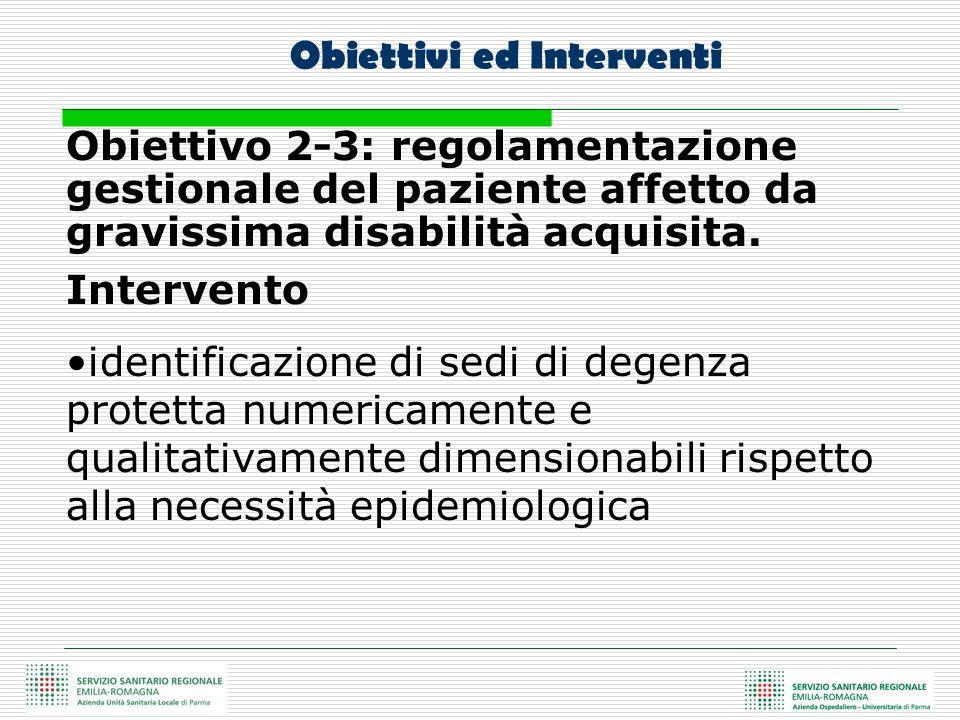Obiettivo 2-3: regolamentazione gestionale del paziente affetto da gravissima disabilità acquisita. Intervento identificazione di sedi di degenza prot