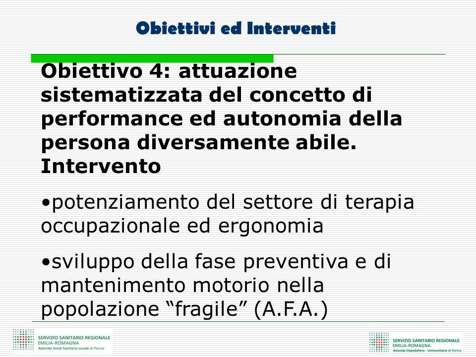 Obiettivo 4: attuazione sistematizzata del concetto di performance ed autonomia della persona diversamente abile. Intervento potenziamento del settore