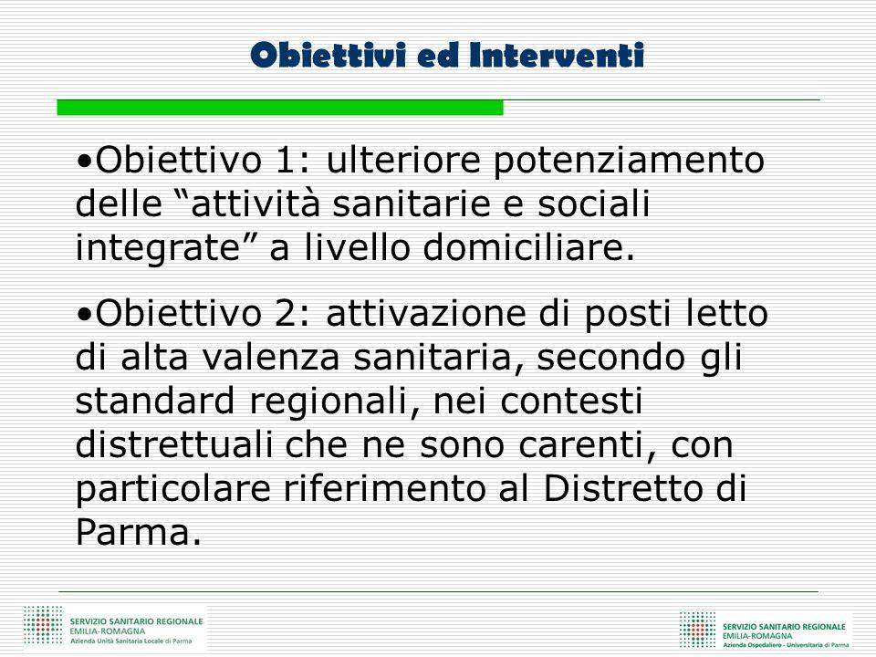 Obiettivo 1: ulteriore potenziamento delle attività sanitarie e sociali integrate a livello domiciliare. Obiettivo 2: attivazione di posti letto di al