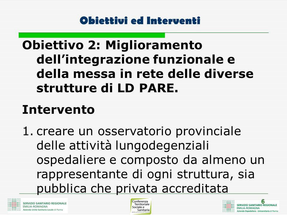 6 Obiettivi ed Interventi Obiettivo 2: Miglioramento dellintegrazione funzionale e della messa in rete delle diverse strutture di LD PARE. Intervento