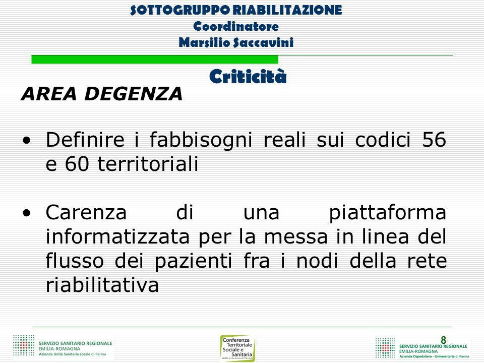 8 SOTTOGRUPPO RIABILITAZIONE Coordinatore Marsilio Saccavini AREA DEGENZA Definire i fabbisogni reali sui codici 56 e 60 territoriali Carenza di una p