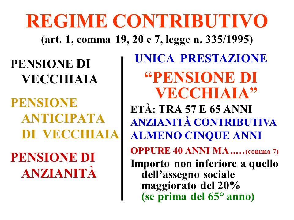 REGIME RETRIBUTIVO PENSIONE DI ANZIANITÀ (art.59, commi 6 e 7, L.