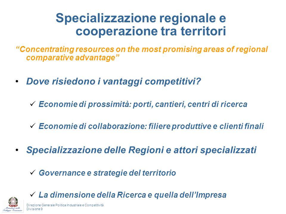 Direzione Generale Politica Industriale e Competitività Divisione 9 Una possibilità: intercettare le specializzazioni dei territori a partire dai progetti a finanziamento pubblico Europei Programmi Quadro R&S: 7^, 6^ Interreg ….