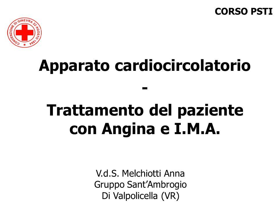 V.d.S. Melchiotti Anna Gruppo SantAmbrogio Di Valpolicella (VR) Apparato cardiocircolatorio - Trattamento del paziente con Angina e I.M.A. CORSO PSTI