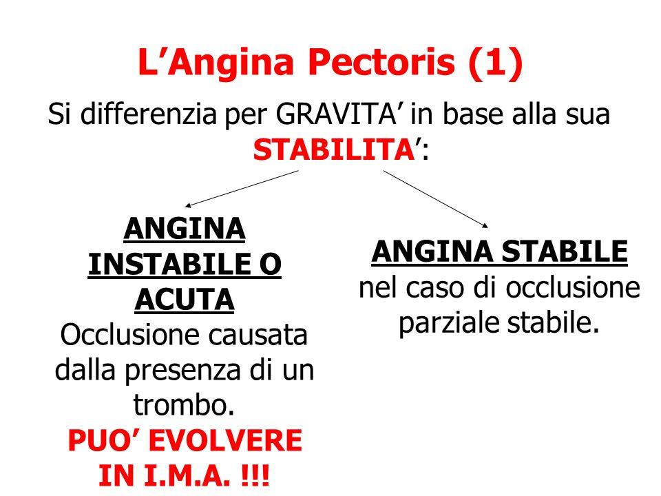 LAngina Pectoris (1) Si differenzia per GRAVITA in base alla sua STABILITA: ANGINA INSTABILE O ACUTA Occlusione causata dalla presenza di un trombo. P