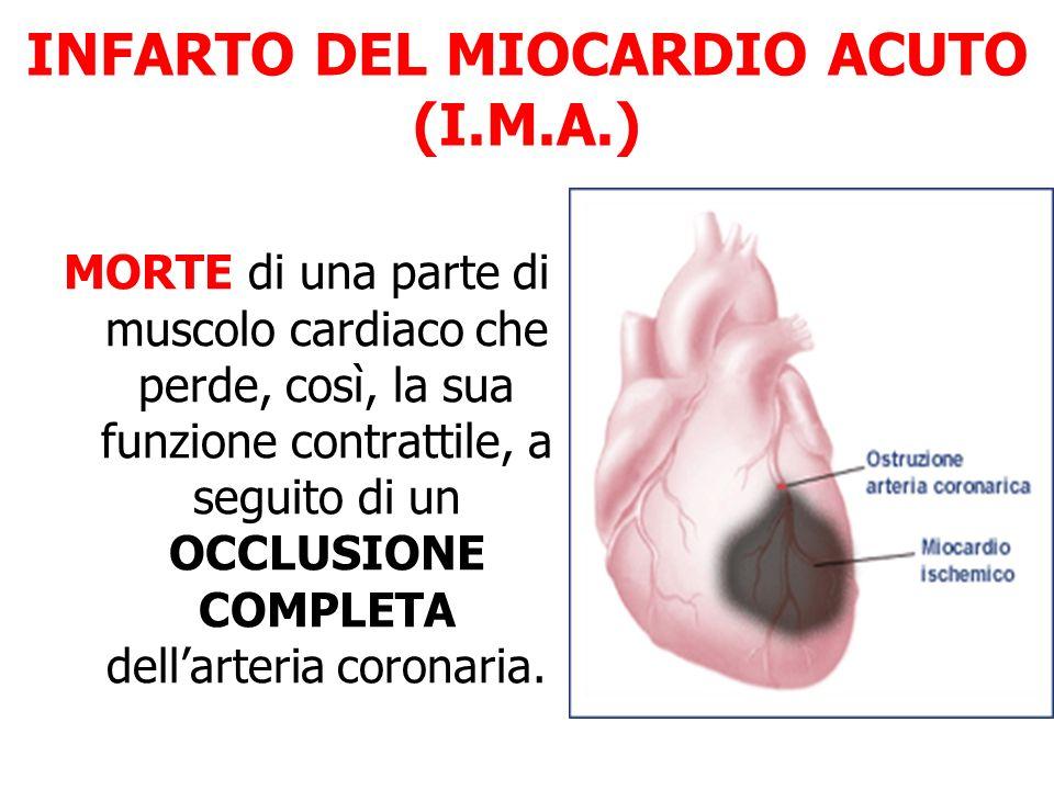 INFARTO DEL MIOCARDIO ACUTO (I.M.A.) MORTE di una parte di muscolo cardiaco che perde, così, la sua funzione contrattile, a seguito di un OCCLUSIONE C