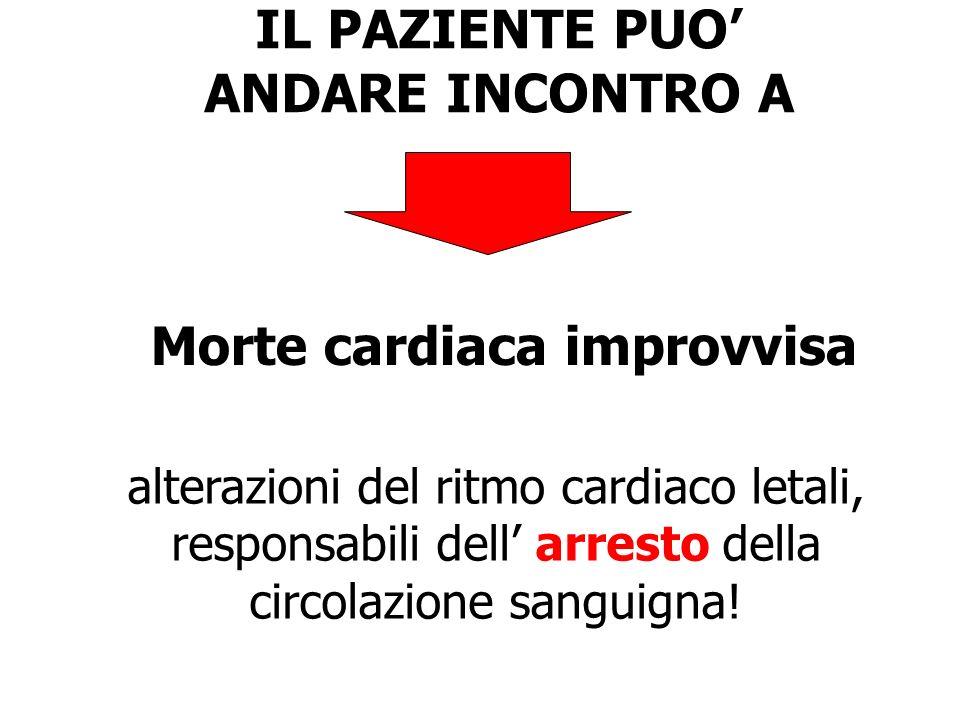 IL PAZIENTE PUO ANDARE INCONTRO A Morte cardiaca improvvisa alterazioni del ritmo cardiaco letali, responsabili dell arresto della circolazione sangui