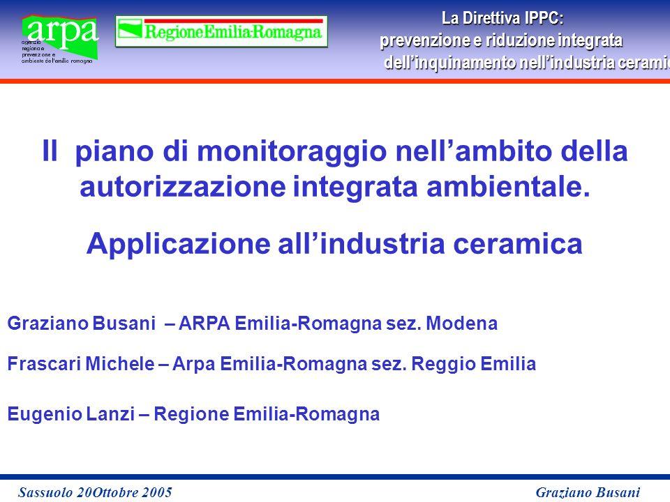 La Direttiva IPPC: prevenzione e riduzione integrata dellinquinamento nellindustria ceramicaper le imprese Sassuolo 20Ottobre 2005 Graziano Busani Il piano di monitoraggio nellambito della autorizzazione integrata ambientale.